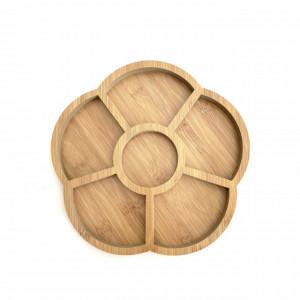Platou din lemn pentru servire cu 6 compartimente, 24 cm
