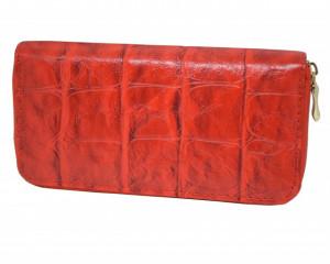 Portofel elegant de dama cu fermoar design caramida, rosu