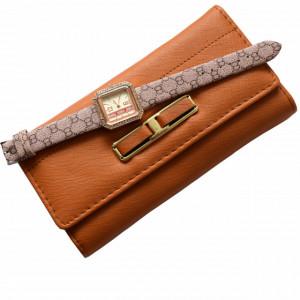 Portofel elegant de dama - maro + ceas dreptunghiular elegant de dama