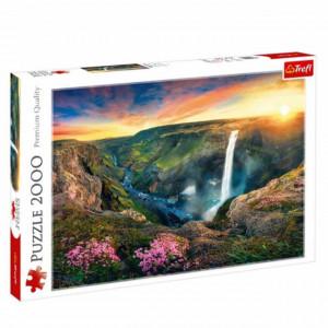 Puzzle modern pentru copii si adulti cu peisaj si cascade, 2000 piese, model Premium