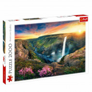 Puzzle modern pentru copii si adulti cu peisaj si cascade din Islanda, 2000 piese, model Premium
