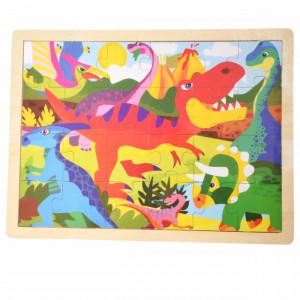 Puzzle Pufo din lemn pentru copii, 24 piese, 40 x 30 cm, model Scary Dino