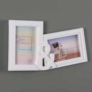 Rama foto decorativa cu 2 poze, model You & Me, 33 x 18 cm, alb