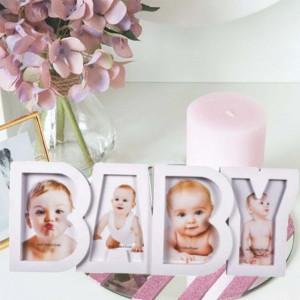 Rama foto decorativa cu 4 poze, model Pufo Baby, 18 x 45 cm