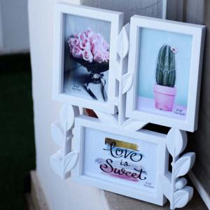 Rama foto decorativa Imperial White cu 3 poze, 30 x 25 cm