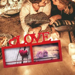 Rama foto decorativa Pufo Love pentru 2 poze, 31 x 16,5 cm, rosu