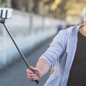 Selfie stick extensibil 108 cm, cablu audio Jack 3.5 mm, culoare negru/argintiu, Pufo