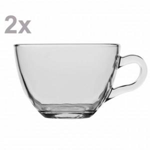 Set 2 cani Pufo transparente din sticla pentru ceai sau cafea, 190 ml