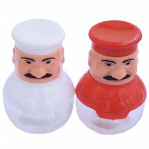 Set 2 solnite pentru sare si piper din sticla in forma de bucatar, alb si rosu