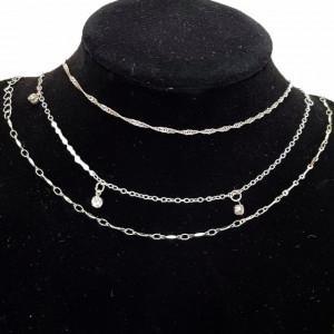 Set 3 bratari pentru glezna, model Shine Silver, argintiu