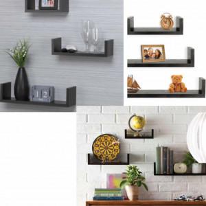 Set 3 polite pentru perete cu sistem de fixare, suspendate, negru