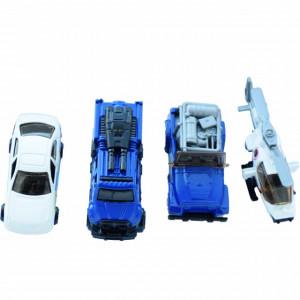 Set 4 masinute metalice si vehicule de politie, Pufo, 1:64