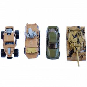 Set 4 masinute metalice si vehicule militare, Pufo, 1:64