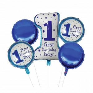 Set 5 baloane 1 Birthday Boy pentru prima aniversare sau petrecere, albastru/ alb, Pufo