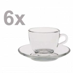 Set 6 cesti si 6 farfurioare elegante Pufo pentru cafea sau ceai, transparente, 80 ml