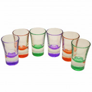 Set 6 pahare din sticla pentru shoturi cu baza colorata, 34 ml