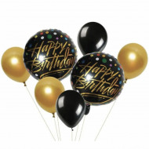 Set 7 baloane aniversare Happy Birthday, Pufo