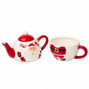 Set ceramic de ceainic cu ceasca Pufo Santa, model de sarbatori