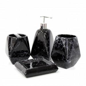 Set ceramic pentru baie compus din 4 piese, Pufo Black Elegant, negru