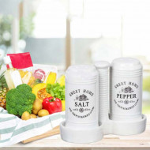 Set de bucatarie pentru sare si piper Sweet home, din material ceramic, alb, Pufo