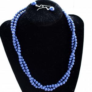 Set elegant colier si cercei cu perle acrilice bleumarin, model rasucit