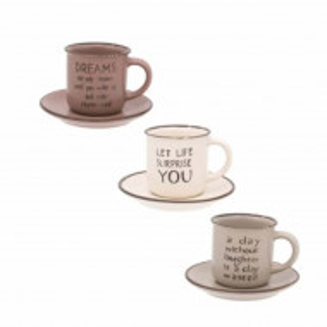 Set Pufo cu 3 cesti pentru cafea cu farfurioare inscriptionate cu mesaje pozitive, 130 ml
