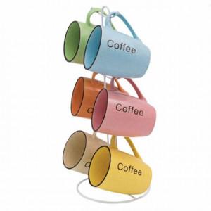 Set Pufo cu 6 cani de cafea sau ceai cu suport metalic, colorate, ceramica