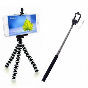 Set selfie stick extensibil 108 cm, cablu audio Jack 3.5 mm, culoare negru/argintiu + Trepied flexibil cu suport pentru telefon mobil sau aparat foto, Pufo