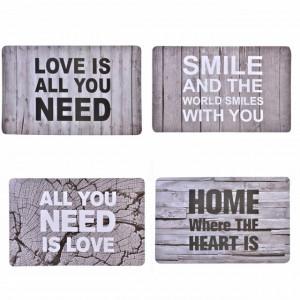 Set suport farfurie pentru servirea mesei cu mesaje motivationale, 4 bucati, 44 x 28 cm