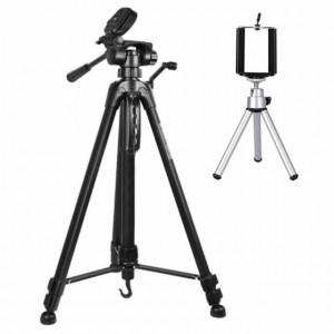 Set Trepied foto telescopic Weifeng WT-3540 universal 61-157 cm si Mini trepied metalic cu suport pentru telefon mobil, model Pufo Premium