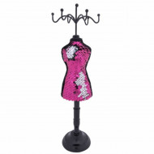 Suport de bijuterii elegant 31 cm, model manechin cu paiete roz, Pufo
