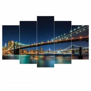 Tablou decorativ canvas cu peisaj nocturn, model Pufo Brooklyn, 5 piese, 100 x 60 cm