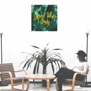 Tablou decorativ canvas Good vibes only, 40 cm, Pufo