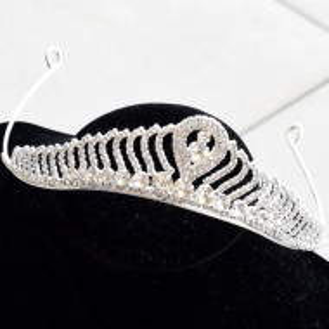 diadema tiara cu cristale argintie