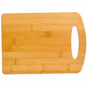 Tocator de bucatarie universal cu maner din lemn de bambus, Pufo, maro, 28 cm