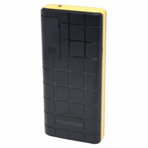 Acumulator extern 20000 mAh, 3 porturi USB, LED, lanterna, negru cu galben