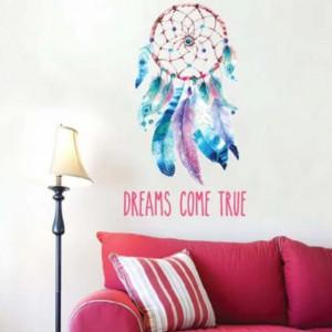 Autocolant sticker decorativ pentru perete prinzator de vise si mesaj motivational, 50 x 32 cm