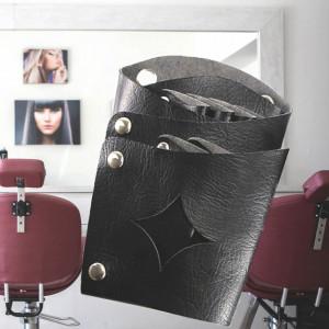 Borseta umar pentru ustensile frizerie, stilist, coafor, cosmetica, model cu stea si capse, negru