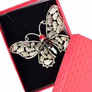 Brosa dama eleganta in forma de fluture cu pietricele, Butterfly with silver wings