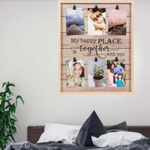 Cadru panou foto Pufo Happy Together din lemn cu cleme, 42 x 52 cm