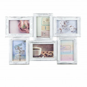 Cadru rama foto Pufo vintage cu model in relief, 6 poze, alb, 50 x 35 cm