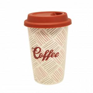 Cana ceramica de voiaj Pufo Stripes pentru cafea cu capac din silicon, 415 ml