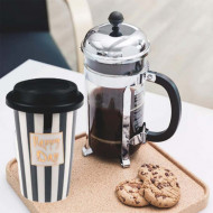 Cana ceramica Pufo Happy Day pentru cafea sau ceai cu capac din silicon, 415 ml