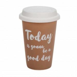 Cana ceramica Pufo pentru cafea sau ceai cu capac din silicon, model Today is a good day