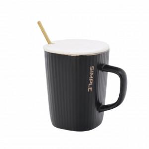 Cana cu capac din ceramica si lingurita Pufo Black Simple pentru cafea sau ceai, 320 ml, negru