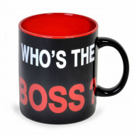 Cana uriasa ceramica Who's the Boss, 815 ml, Pufo, negru