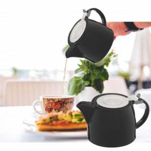 Ceainic din portelan Pufo cu filtru metalic, 510 ml, negru