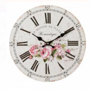 Ceas de perete, model Romatique Fleurs, Pufo, 34 cm
