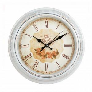 Ceas de perete rotund 30 cm, model Pufo vintage, alb