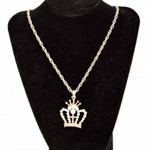 Colier argintiu lung cu pandantiv coroana, model Silver crown